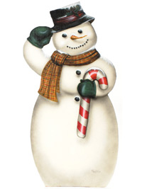 Snowman With Candy Cane - A Christmas Decoration & Display from Cottages and Gardens & Bonnie's Boardwalk Originals