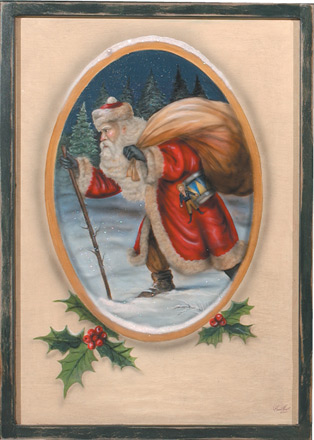 Christmas Painting - A Christmas Decoration & Display from Cottages and Gardens