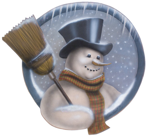 Snowman With Broom Disk - A Christmas Decoration & Display from Cottages and Gardens