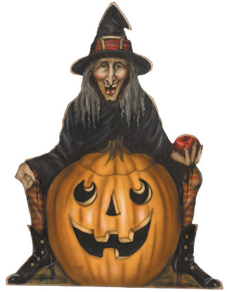 Witch With Pumpkin & Striped Socks - A Halloween Decoration & Display from Cottages and Gardens
