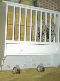 LARGE VIEW & Vintage Wooden Plate Rack With Drawer - Vintage Woodern Plate Rack ...